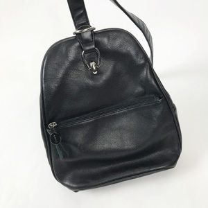 Aurielle black leather backpack one strap mini